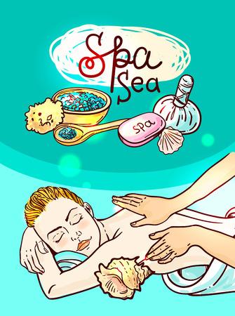 massage spa: Beautiful vector hand drawn illustration massage. Spa woman gets relax spa massage. Illustration