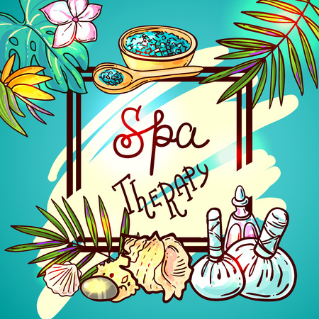 spa therapy: Beautiful hand drawn vector illustration spa for your design. Spa therapy background. Illustration