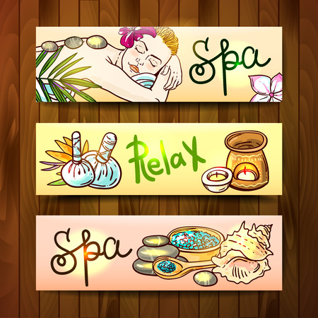 stone massage: Beautiful vector hand drawn banners spa. Spa woman gets relax spa massage. Stone massage.