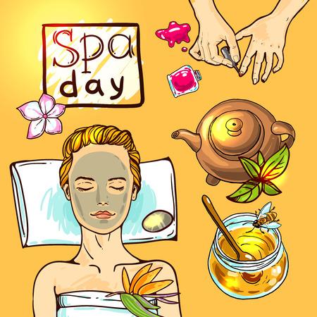 Spa de belle illustration vecteur dessiné à la main. Femme Spa se détend avec du miel.
