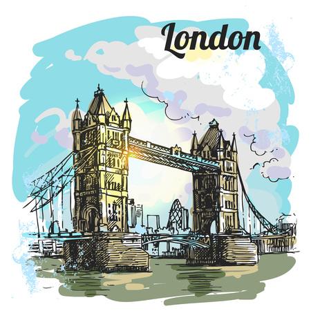 drawbridge: Beautiful hand drawn vector sketch illustration London bridge. Engraving style.