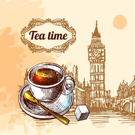 美しいベクター背景お茶の時間。紅茶とロンドン ビッグベンのスケッチ カップ。お茶の時間のイラスト。