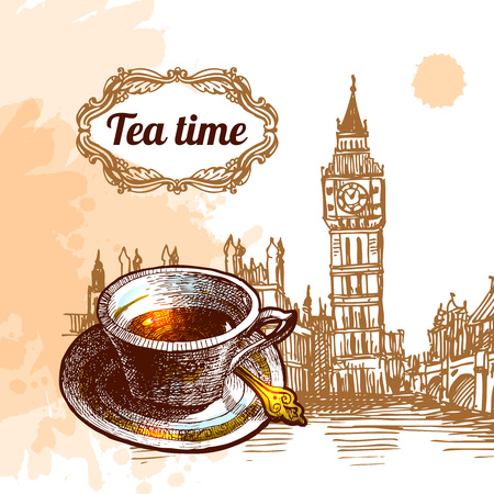 london big ben: Beautiful vector background tea time. Cup with tea and sketch of London Big Ben. Tea time illustration.