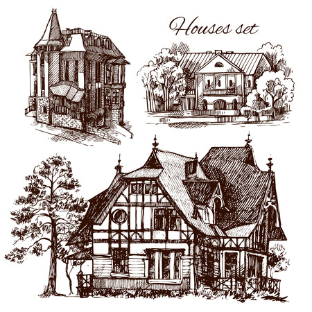 country house style: Beautiful hand drawn vector illustration country house. Sketch style house. Sketch house for your design. Illustration