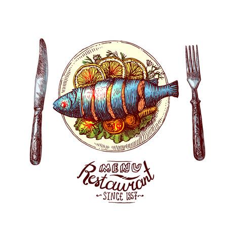 Hand getrokken illustratie vis voor het diner. Sea food restaurant menu.