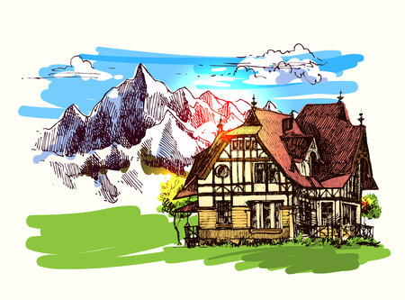 rockies: Beautiful hand drawn vector illustration country house. Sketch style house. Sketch house for your design. House in the mountains