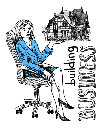 building sketch: Woman sells house. Hand drawn vector sketch. Building business. Illustration