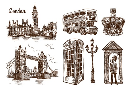 Beautiful hand drawn vector sketch illustration London. Sketch style. London sketch. Vettoriali