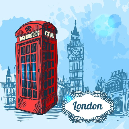thames: Beautiful hand drawn vector sketch illustration London. Sketch style.