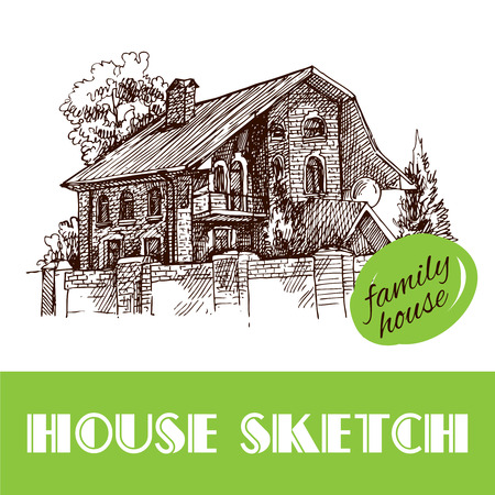 Beautiful hand drawn vector illustration country house. Sketch style house. Sketch house for your design. Ilustração