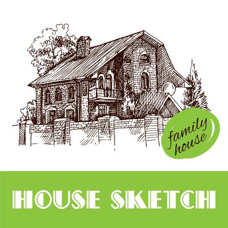 Schöne Hand gezeichnet Vektor-Illustration Landhaus. Sketch-Stil Haus. Sketch Haus für Ihr Design.