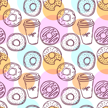 Donut vector illustration.Seamless pattern donut and coffee. Donut icon in a hand drawn style. Collection of sweet donuts isolated. Donuts icing sugar. 免版税图像 - 57957263