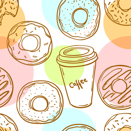 icing: Donut vector illustration.Seamless pattern donut and coffee. Donut icon in a hand drawn style. Collection of sweet donuts isolated. Donuts icing sugar.