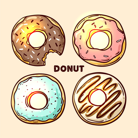 donut shop: Donut vector illustration. Donut isolated on a light background. Donut icon in a hand drawn style. Donuts into the glaze set. Collection of sweet donuts isolated. Donuts icing sugar. Illustration