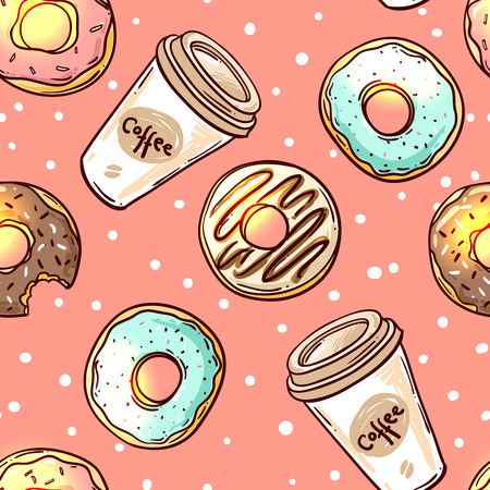 donut shop: Beautiful hand drawn vector seamless pattern donut. Sketch style donut. Donut for your design.