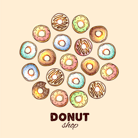 donut shop: Beautiful hand drawn vector illustration donut. Sketch style donut. Donut for your design. Illustration