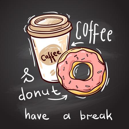 Hermosa dibujado a mano ilustración vectorial de donuts. dona el estilo de dibujo. Rosquilla para su diseño. Ilustración de vector