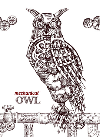 Vector hand drawn mechanical owl. Mechanical sketch animal. Steampunk style owl. Çizim