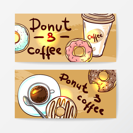 donut shop: Donut vector illustration. Donuts icing sugar. Hand drawn vector donut doodle style.