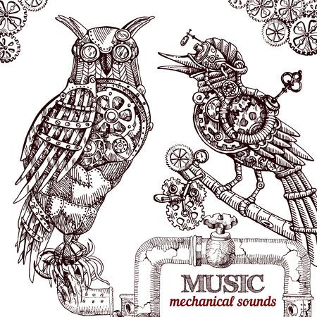 vector dibujado a mano búho mecánico. animales dibujo mecánico. búho del estilo del steampunk.