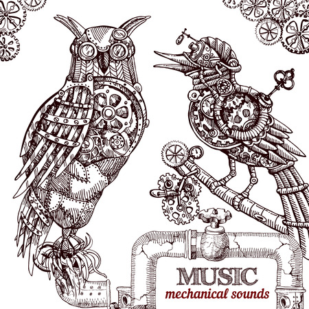music machine: Vector hand drawn mechanical owl. Mechanical sketch animal. Steampunk style owl. Illustration