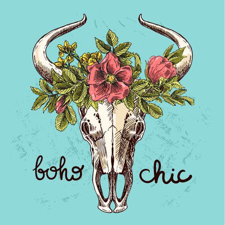 Mooie hand getrokken schets illustratie van de schedel van een stier. Boho stijldruk voor T-shirt. Stock Illustratie