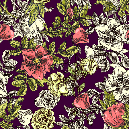 linens: Beautiful hand drawn seamless pattern boho flowers. Patterns for boho-style  wedding invitations and  linens. Decorative floral illustration with flowers of roses.