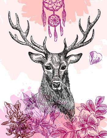 Hand drawn illustration deer. Sketch of deer. Beautiful hand drawn illustration boho style. 免版税图像 - 58994292