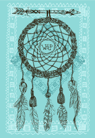 Beautiful hand drawn illustration dreamcatcher. Boho style dreamcatcher. Sketch style feathers. Illustration