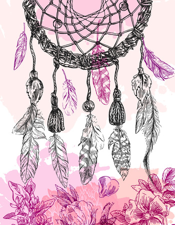 Beautiful hand drawn illustration dreamcatcher. Boho style dreamcatcher. Sketch style feathers. Ilustracja