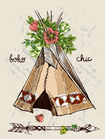 teepee: Abstract tribal design with teepee and flowers. Hand drawn brush stroke typographic design.