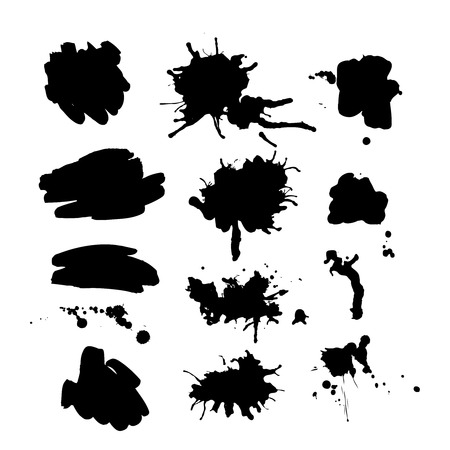 the ink blot: Set of vector ink spot. 12 black ink blot for your design. Illustration