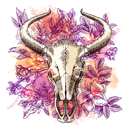 skull design: Beautiful hand drawn sketch illustration the skull of a bull and flowers. Boho style print for T-shirt. Illustration
