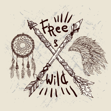 indian headdress: Beautiful hand drawn illustration with crossed ethnic arrows Dream catcher and Indian headdress. Boho and hippie style. American indian motifs. Wild and Free poster. Illustration