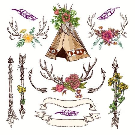polygraphy: Set of Boho Style  hand drawn elements. Boho vector illustration. Tribal elements for polygraphy of boho wedding. Illustration