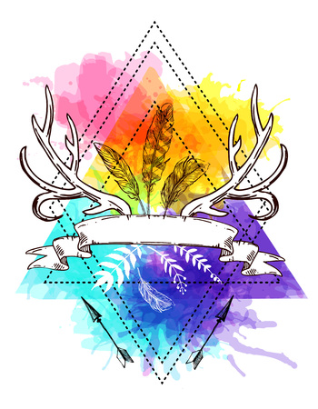 Boho stijl hand getekende poster met hoorns, veren en bloemen. Boho vector illustratie. Gebruik voor t-shirt prints, posters, boho huwelijk, briefkaarten.