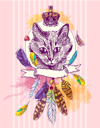 moggie: hand drawn illustration head of cat. Boho style poster. Ink sketch drawing of cat.