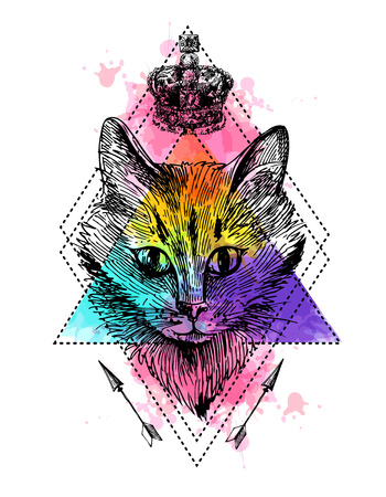 sketched arrows: hand drawn illustration head of cat. Boho style poster. Ink sketch drawing of cat.