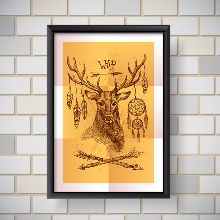 hoofed: Hand drawn illustration deer. Sketch of deer. Beautiful hand drawn poster  boho style.