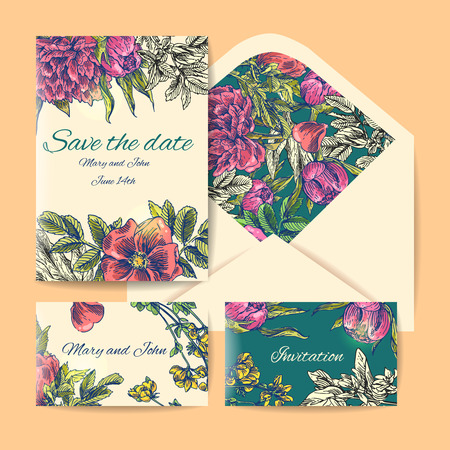 suite: wedding invitation card suite with daisy flower Templates