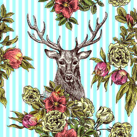 Boho Style hand drawn seamless patternr with deer and flowers. 写真素材 - 59598869