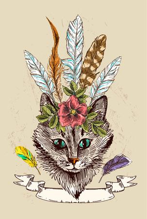 moggie: hand drawn illustration head of cat