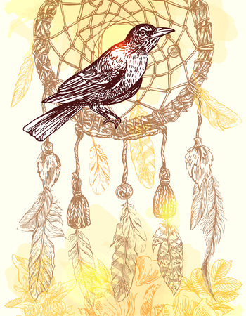 naturalistic: Beautiful hand drawn illustration bird and dreamcather. Boho style drawing. Use for t-shirts, print, poster, postcard, wedding invitations.