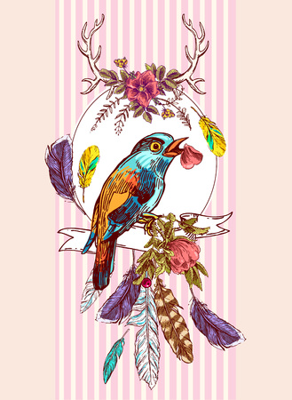scraps: Beautiful hand drawn vector  illustration bird and flowers. Boho style drawing. Use for t-shirts, print, poster, postcard, wedding invitations.