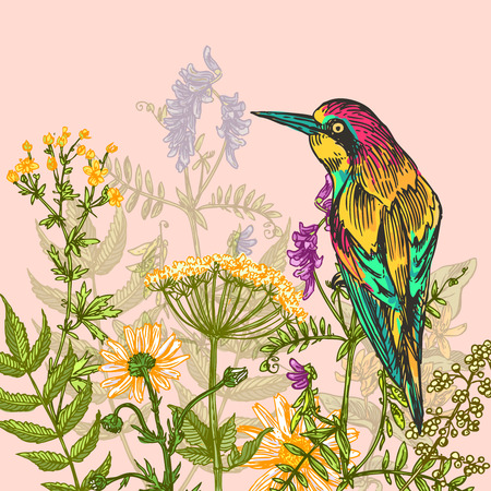 Beautiful hand drawn vector  illustration bird and flowers. Boho style drawing. Use for t-shirts, print, poster, postcard, wedding invitations.