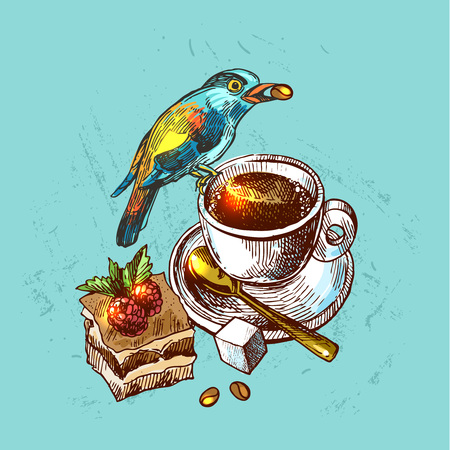 draw a sketch: Beautiful hand drawn vector  illustration bird and cap of coffee. Boho style drawing. Use for t-shirts, print, poster, postcard, wedding invitations. Illustration