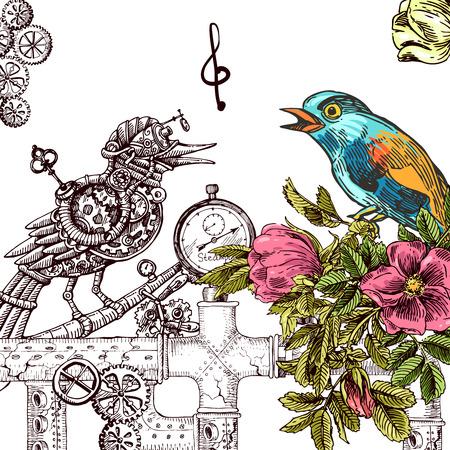 Bella mano disegnato illustrazione vettoriale di uccelli e di uccelli meccanici. stile di disegno Boho. Utilizzare per le magliette, stampa, poster, cartoline, inviti di nozze. Vettoriali