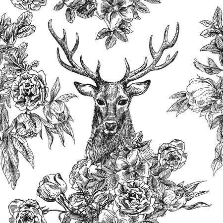 Boho Style hand drawn seamless patternr with deer and flowers.  Vector illustration. Use for t-shirt prints, posters,  wedding, postcards.