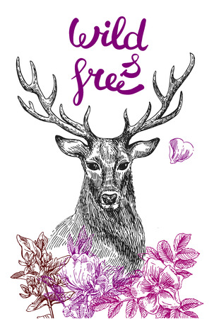 Boho Style hand drawn poster with deer and flowers. Vector illustration. Use for t-shirt prints, posters, wedding, postcards.