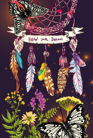 Beautiful hand drawn vector illustration sketching of dreamcatcher adn wildflowers. Boho style drawing. Use for postcards, print for t-shirts, posters, wedding invitation.